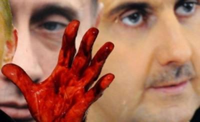 assad putin bloodied hand