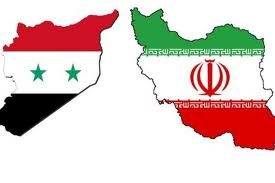 Iran syria flags maps