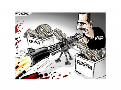 cartoon assad fighting with Russia, china ammunition