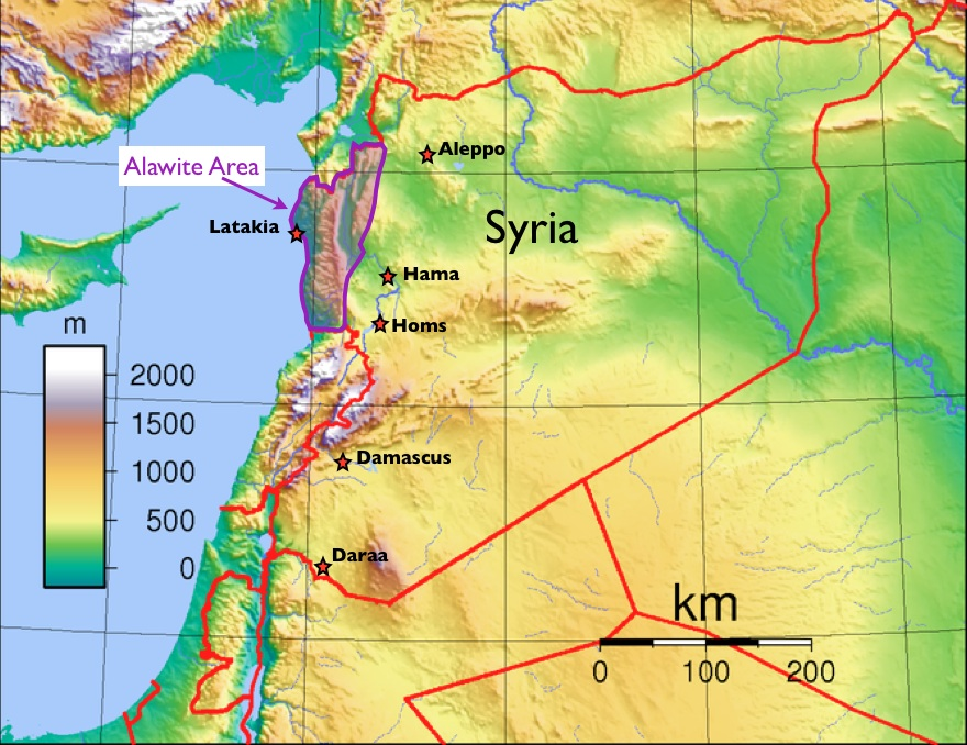 Alawites in Syria map