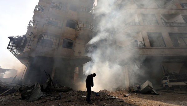 Building burned near damascus