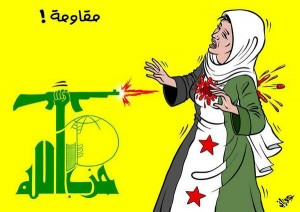 hezbollah pointing  its arms against the syrians