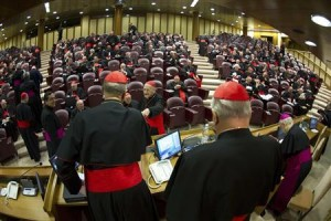 Cardinals attends a meeting at the Synod Hall in the Vatican