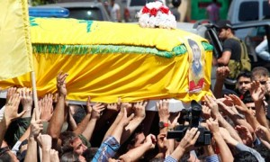 Supporters of Hezbollah funeral in Sidon