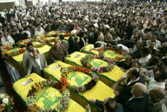 Funerals for Hezbollah fighters killed in Syria while fighting against the Syrian rebels. Over 150 Hezbollah fighters  have reportedly been killed while fighting in support of the Syrian regime of president Bashar al Assad