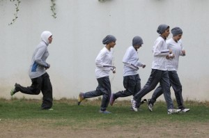 saudi girls pracice soccer at secret location