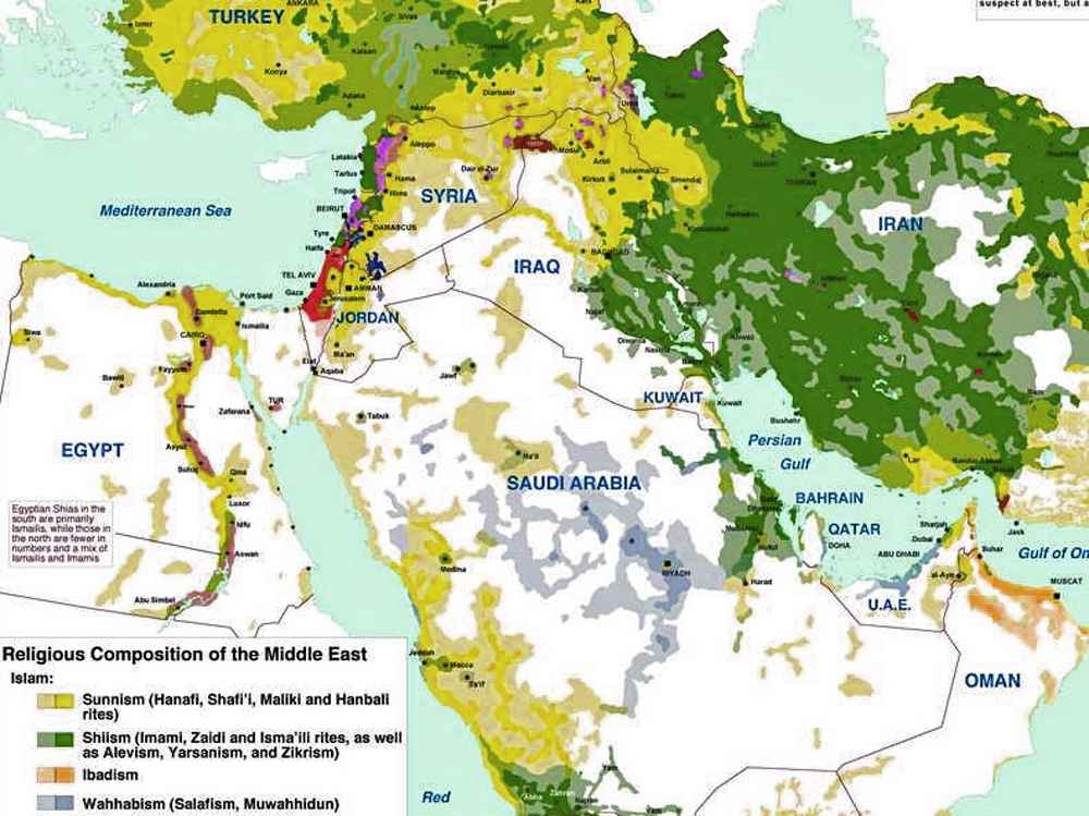 Bahrain Map of Middle East Shiites in The Middle East Map 39