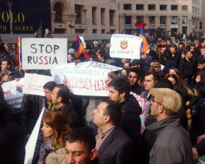 amenians protest against Putin visit